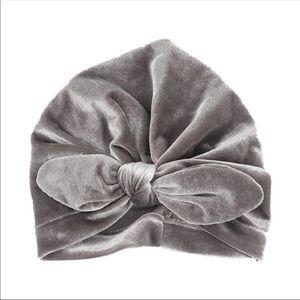 Other - Brand New Velvet Grey Baby Girl Turban Hat 0-24 M